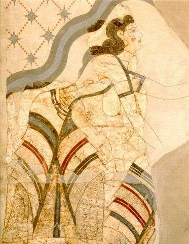 Κυκλαδική τέχνη, 1700 π.χ. Wall-painting of Ladies and Papyri. Akrotiri, House of the Ladies. (Museum of Thera) Mature Late Cycladic I period (17th century B.C.).