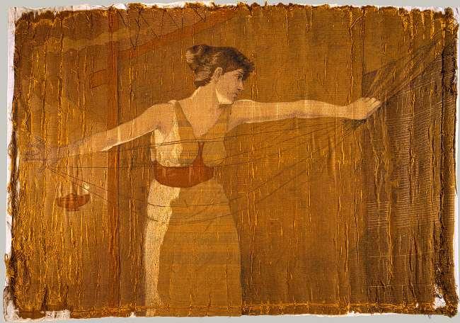 Η Πηνελόπη χαλάει το υφαντό της τη νύχτα. Penelope Unraveling Her Work at Night, Dora Wheeler 1886