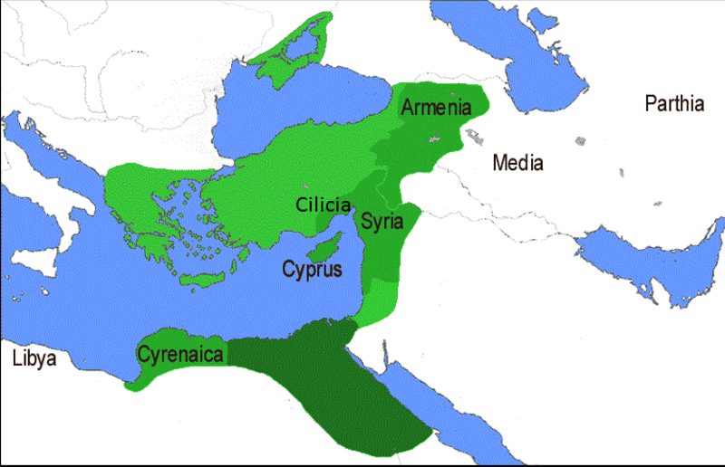 Οι περιοχές (Συρία, Κύπρος, Αρμενία και Κυρηναϊκή) που δώρισε στην Κλεοπάτρα και τα παιδιά τους ο Αντώνιος (με το σκούρο πράσινο, το αρχικό βασίλειο της Κλεοπάτρας)