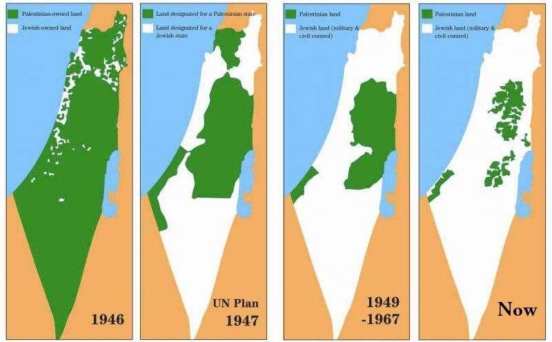 Η συρρίκνωση των παλαιστινιακών εδαφών από το 1946 μέχρι σήμερα