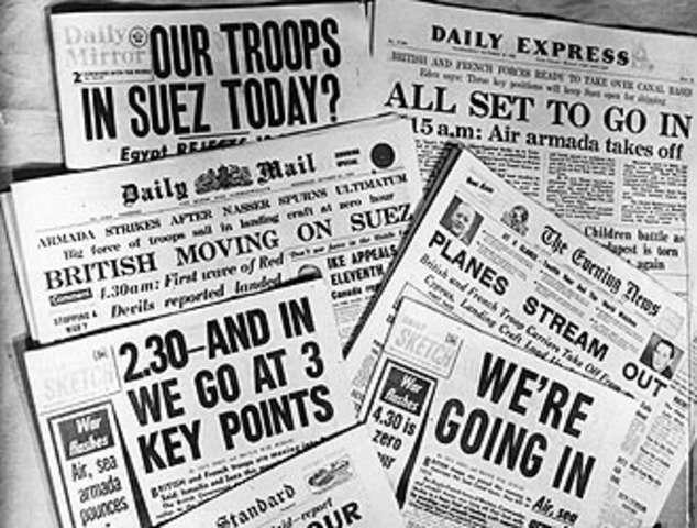 Πρωτοσέλιδα βρετανικών εφημερίδων για την κρίση του Σουέζ