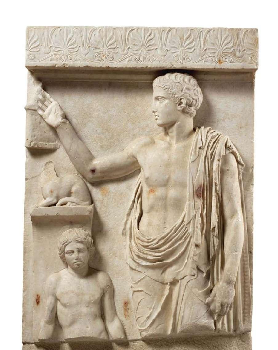 Επιτύμβια στήλη από τη Σαλαμίνα ή την Αίγινα. Ίσως είναι έργο του Αγορόκριτου, ενός μαθητή του Φειδία. Αρχαιολογικό Μουσείο Αθηνών