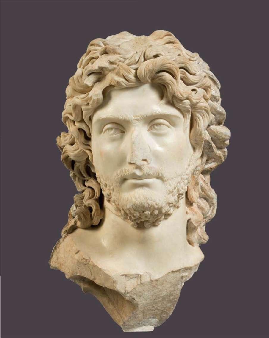Μαρμάρινη προτομή νέου από την Ελευσίνα. 3ος αιώνας μ.Χ. Αρχαιολογικό Μουσείο Αθηνών.