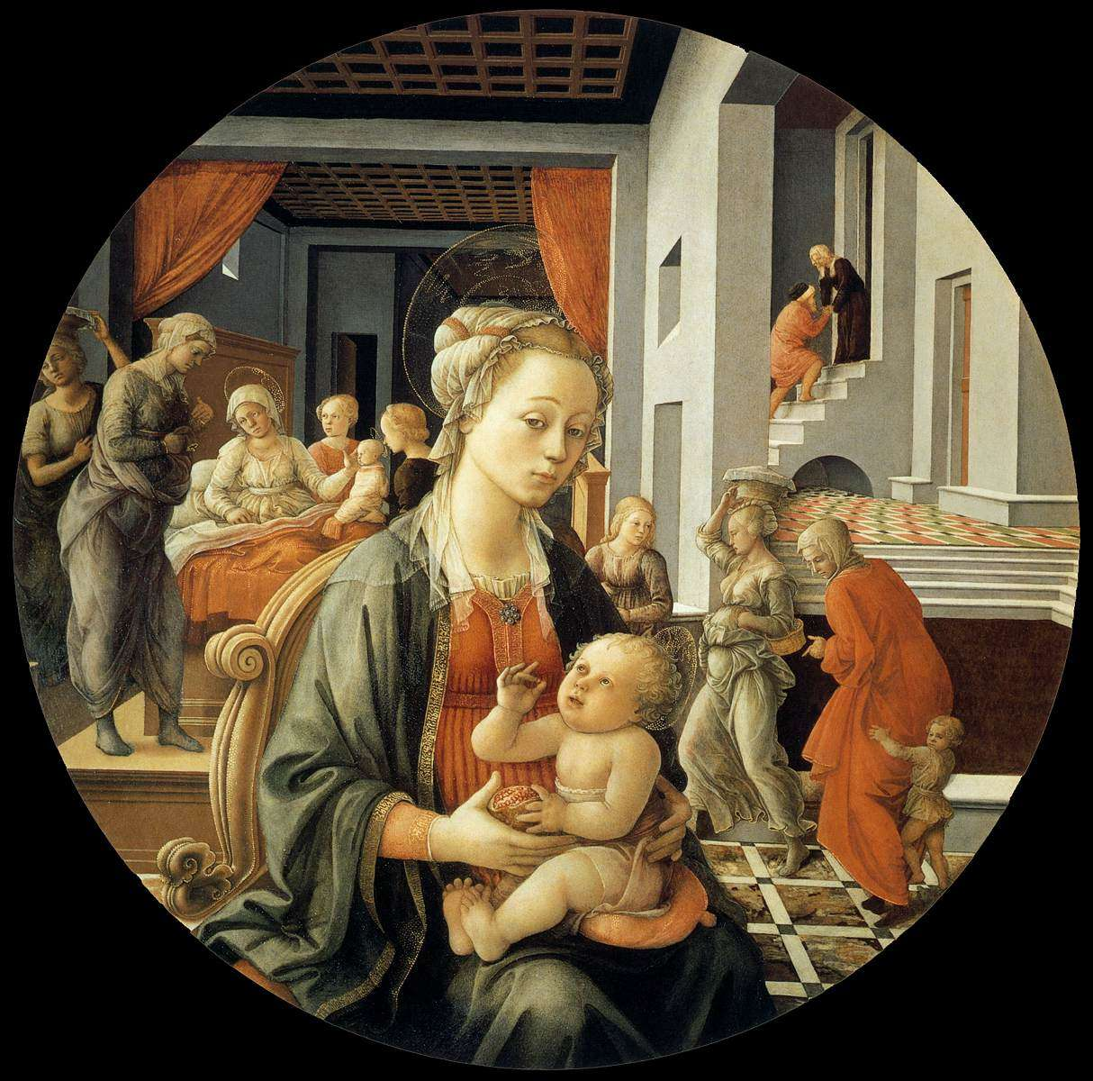 Filippo Lippi, Madonna and Child With Scenes from the Life of St. Anne Italian, 1452 Florence, Pitti Palace