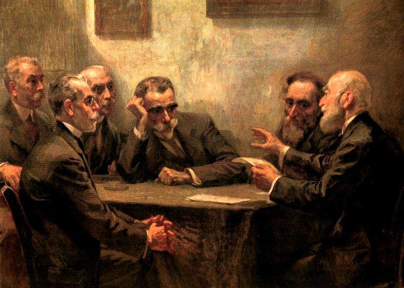 Ο Κωστής Παλαμάς (Πάτρα, 13 Ιανουαρίου 1859 - Αθήνα, 27 Φεβρουαρίου 1943) ήταν ποιητής, πεζογράφος, θεατρικός συγγραφέας, ιστορικός και ήταν κριτικός της λογοτεχνίας. (στο κέντρο)