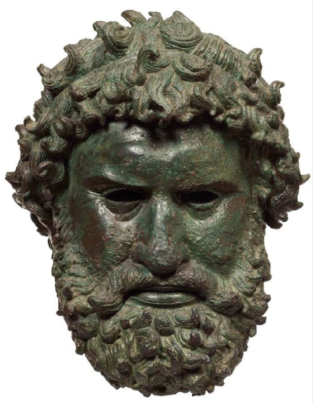 Χάλκινη κεφαλή πυγμάχου που βρέθηκε στην Ολυμπία. Πιθανότατα πρόκειται για έργο του Αθηναίου γλύπτη Σιλανίωνα. 330-320 π.Χ. Αρχαιολογικό Μουσείο Αθηνών