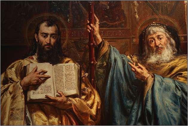 """Λεπτομέρεια από πίνακα του Jan Matejko (1838 - 1893) """"Άγιοι Κύριλλος και Μεθόδιος"""". 1885. Υπουργείο Οικονομικών της Βασιλικής της Κοιμήσεως της Θεοτόκου στην Velehrad, Νότια Μοραβία."""
