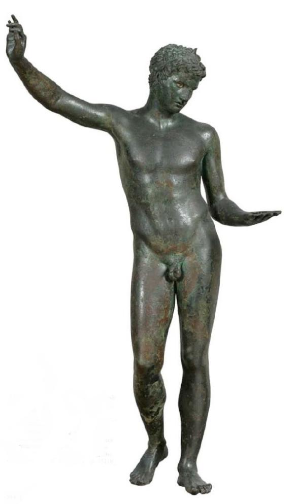 """Ο """"παις του Μαραθώνος"""", χάλκινο άγαλμα. Θεωρείται έργο της σχολής του Πραξιτέλη. 4ος αιώνας π.Χ. Αρχαιολογικό Μουσείο Αθηνών"""