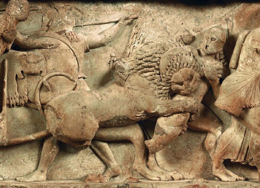 Η ζωφόρος του θησαυρού των Σιφνίων. Αρχαιολογικό μουσείο Δελφών