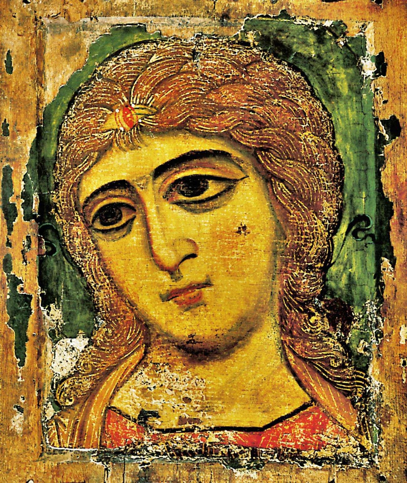 Αρχάγγελος Γαβριήλ. Ρωσική εικόνα 12ου αι. Τα μαλλιά του Αρχαγγέλου φέρουν χρυσοκονδυλιές.