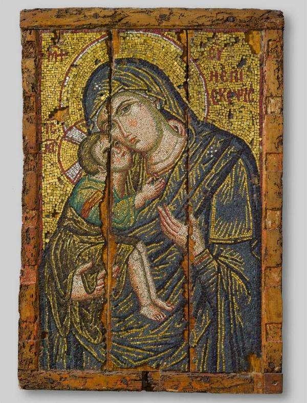 Ψηφιδωτή βυζαντινή εικόνα με την Παναγία και το θείο βρέφος. 1300 μ..Χ.