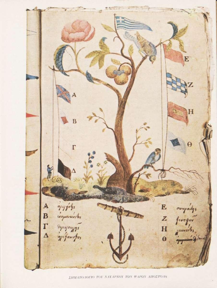Σηματολόγιο του ναυάρχου των Ψαρών Αποστόλη. Πηγή: Διον. Κόκκινος, Η Ελληνική Επανάστασις.