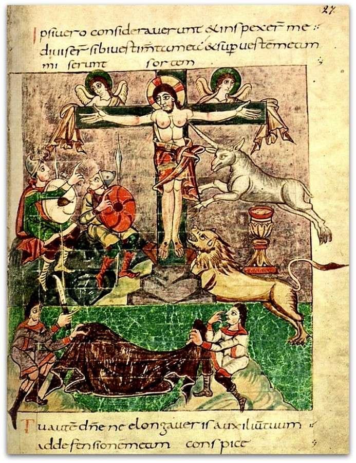 Η Σταύρωση, μεσαιωνική απεικόνιση. Στουτγάρδη, 820-830 μ.Χ. Στουτγάρδη, Βυρτεμβέργης, Περιφερειακή Βιβλιοθήκη.