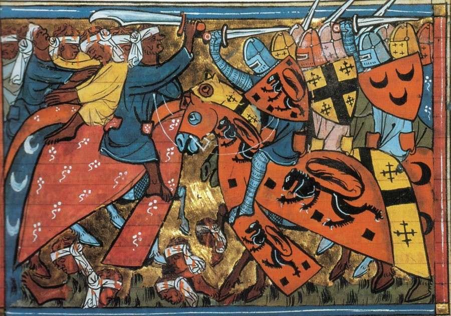 Ιππότε;ς της Α' Σταυροφορίας, μεσαιωνική απεικόνιση