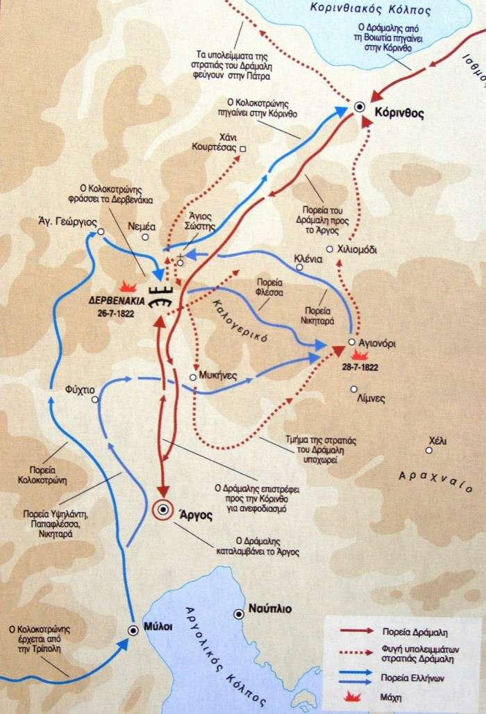 Η μάχη στα Δερβενάκια. Χάρτης που δείχνει τις θέσεις του Δράμαλη και τις κινήσεις των επαναστατημένων Ελλήνων