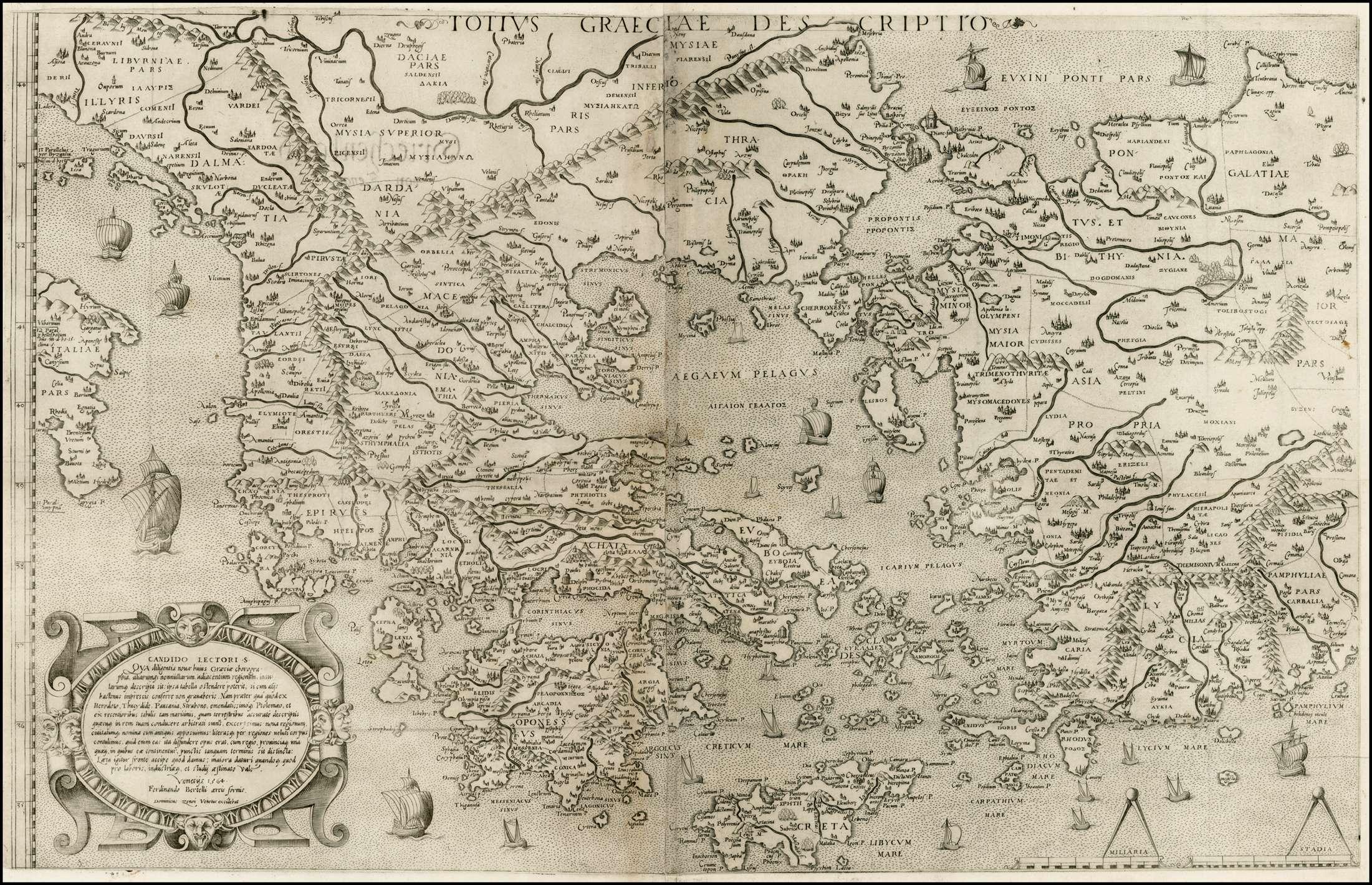 Χάρτης της Ελλάδας (Totius Graeciae Descriptio) του 16ου αιώνα από τον Νικόλαο Σοφιανό, με λατινικές και ελληνικές περιγραφές τοπονυμίων