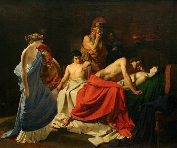 Ο Θρήνος του Αχιλλέα για τον Πάτροκλο. Πίνακας του Νικολάι Γκαι (1855).