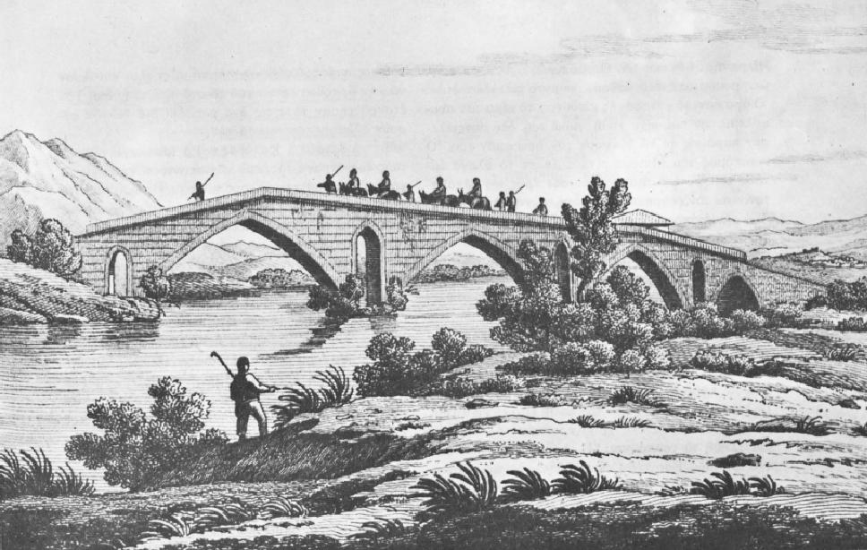 Η γέφυρα της Αλαμάνας. Εκ του S. Pomardi. Viaggio nella Grecia, Roma 1820. Πηγή: Διον. Κόκκινος, Η Ελληνική Επανάστασις.