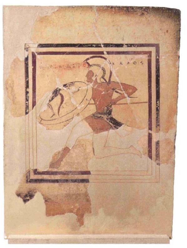 Πήλινη ζωγραφιστή πλάκα με παράσταση οπλιτοδρόμου, έργο του αγγειογράφου Ευθυμίδη. Μουσείο της Ακρόπολης, Αθήνα