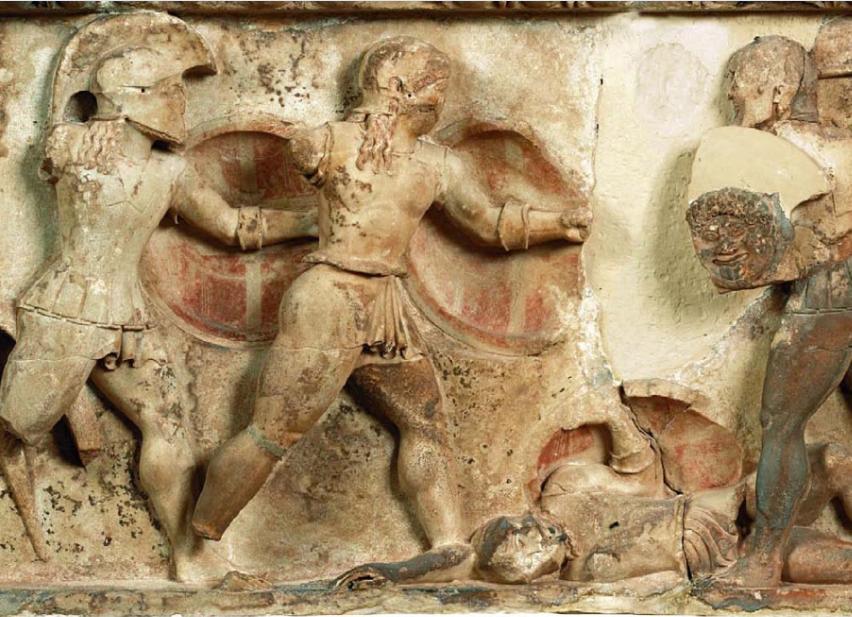 Η ανατολική ζωφόρος του θησαυρού των Σιφνίων. 525 π.Χ. Αρχαιολογικό Μουσείο Δελφών