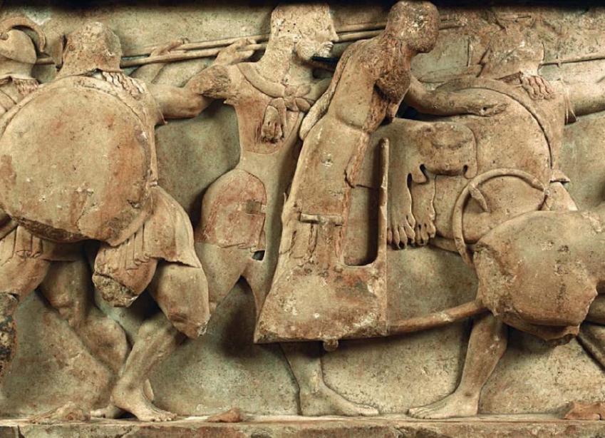 Η βόρεια ζωφόρος του θησαυρού των Σιφνίων. 525 π.Χ. Αρχαιολογικό Μουσείο Δελφών