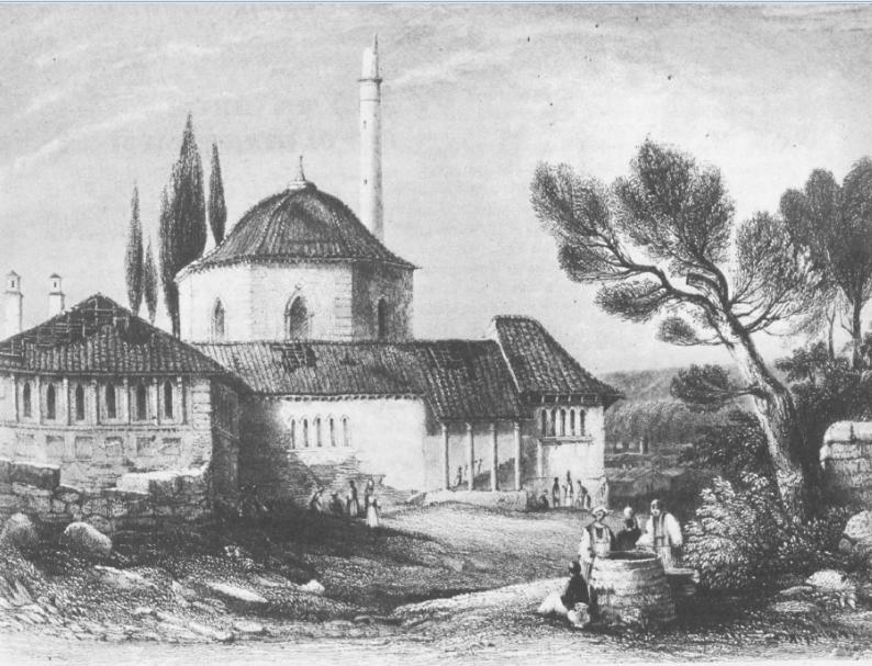 Eρειπωμένο μουσουλμανικό τέμενο στην Τριπολιτσά,. Έργο του W. Purser, London 1840. Πηγή: Διον. Κόκκινος, Η Ελληνική Επανάστασις.