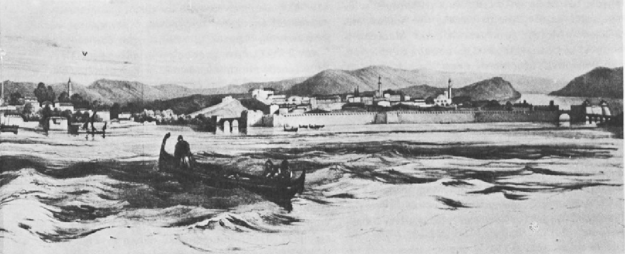 Η Χαλκίδα επί του Ευρίπου. Λιθογραφία του L. Garneray. Πηγή: Διον. Κόκκινος, Η Ελληνική Επανάστασις.
