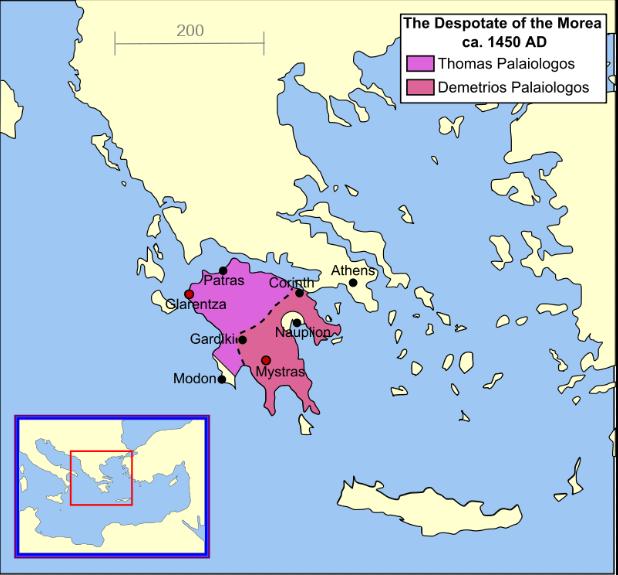 Χάρτης του Δεσποτάτου του Μορέως κατά το έτος 1450.