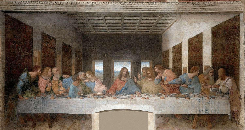 Ο Μυστικός Δείπνος (1495-1498). Τοιχογραφία που σήμερα είναι αρκετά κατεστραμμένη