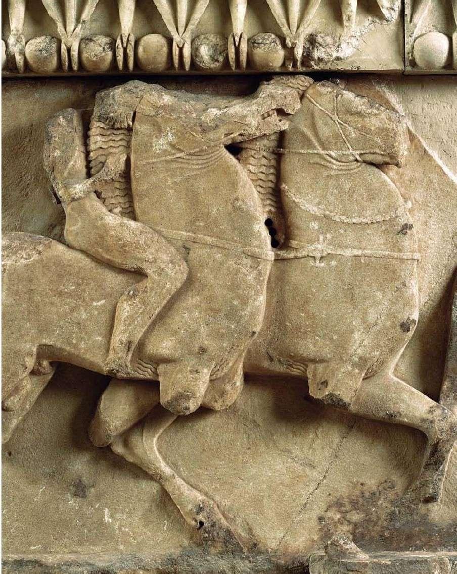 Λεπτομέρεια από τη νότια ζωφόρο του θησαυρού των Σιφνίων. Αρχαιολογικό Μουσείο Δελφών
