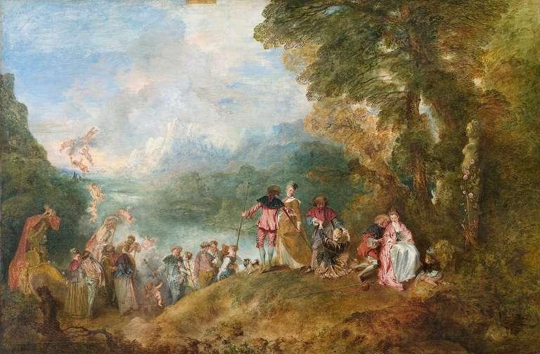 Watteau, Αναχώρηση για τα Κήθυρα (1717) (πηγή)