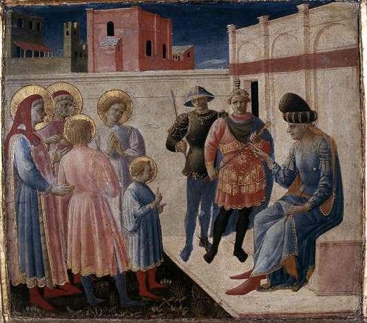 Φρα Αντζέλικο. Pala di Annalena - predella: Οι Άγιοι Κοσμάς και Δαμιανός ενώπιον του ανθύπατου Λυσία