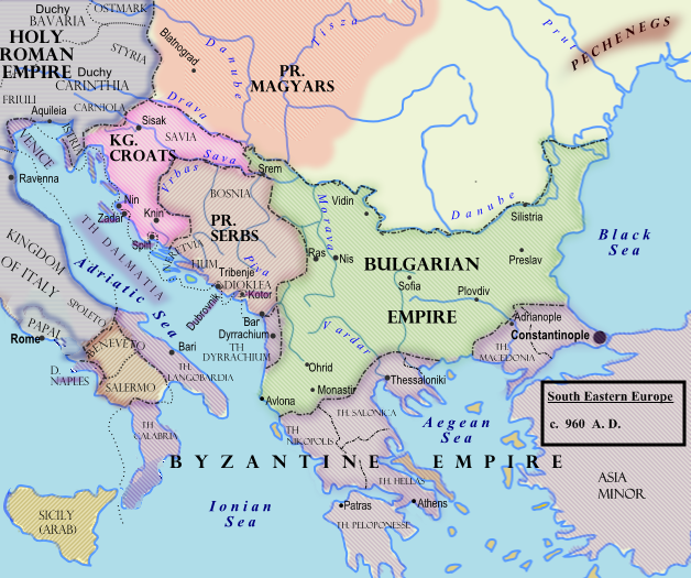 Η Βουλγαρική Αυτοκρατορία γύρω στα 960, πριν από τους πολέμους με Ρως και Βυζαντινούς.