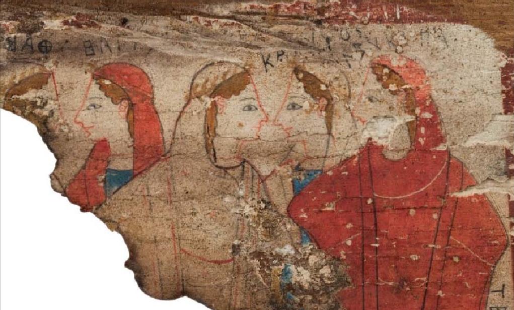 Ξύλινος πίνακας από το σπήλαιο Πιτσά Κορινθίας· σώζεται τμήμα παράστασης με κυκλικό χορό γυναικών. Μέσα του 6ου αιώνα π.Χ. Εθνικό Αρχαιολογικό Μουσείο, Αθήνα.