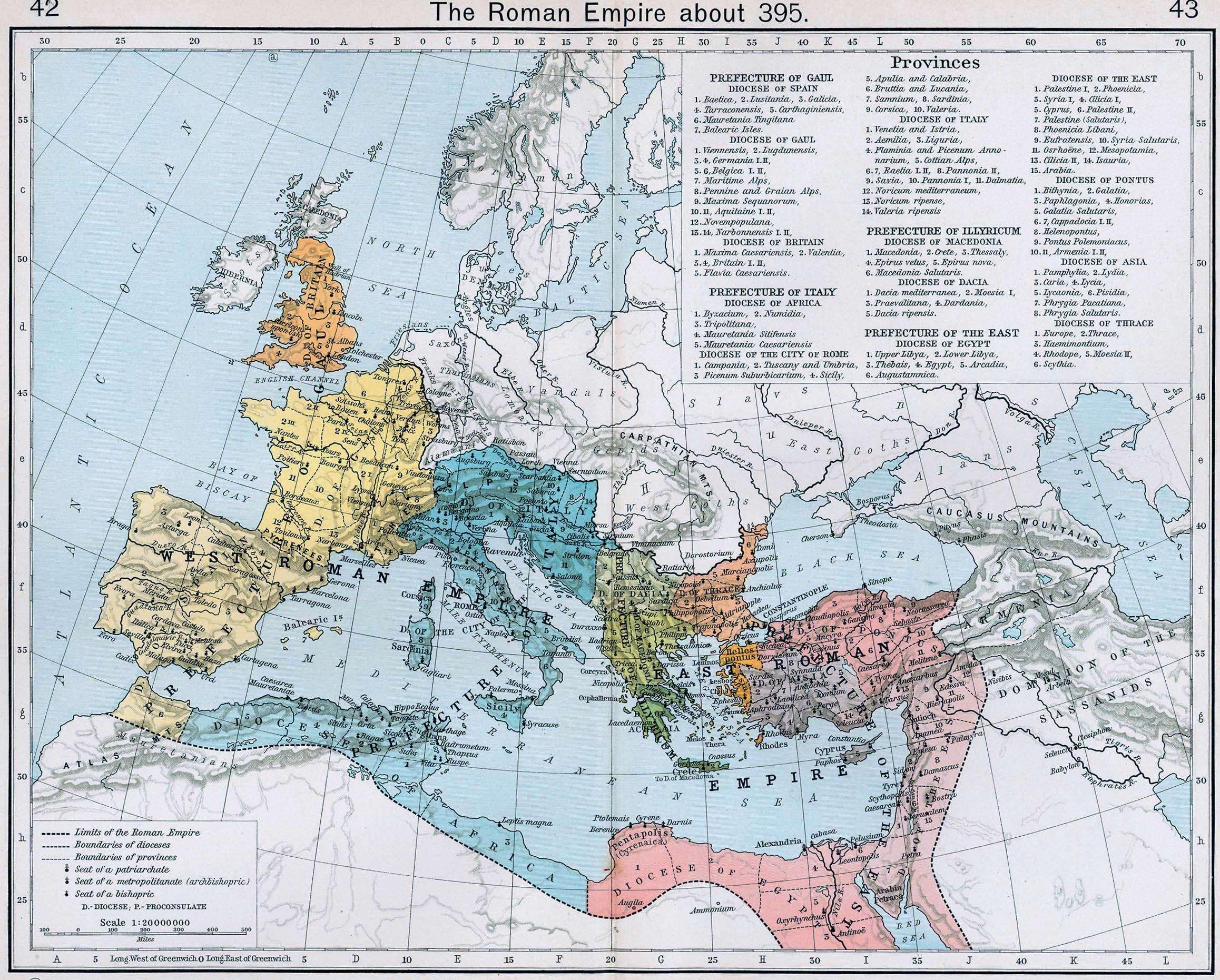 Οι διοικητικές διαιρέσεις της Ρωμαϊκής Αυτοκρατορίας το 395 μ.Χ.
