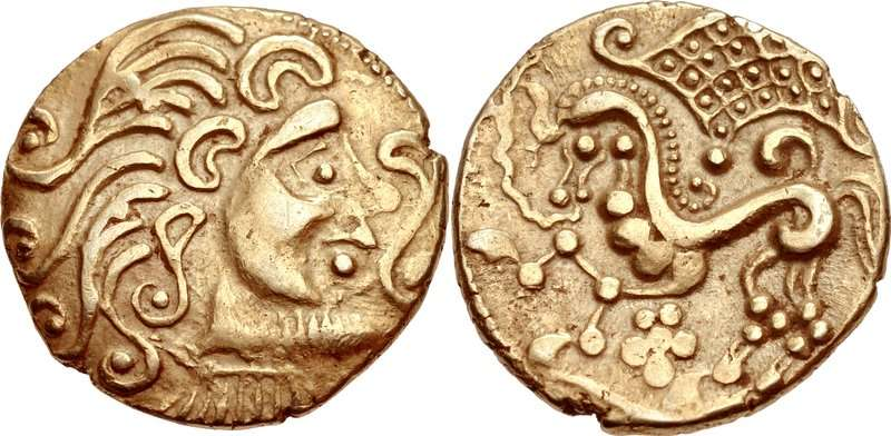 Νόμισμα των Παρίσιων (Parisii), με την κελτική εκδοχή της παράστασης, 2ος αιώνας π.Χ.