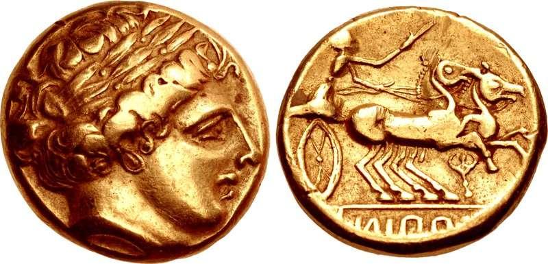 Νόμισμα των Ελβέτιων (Helvetii), ως κοντινή απομίμηση Φιλίππειου στατήρα, μέσα 3ου αιώνα π.Χ.