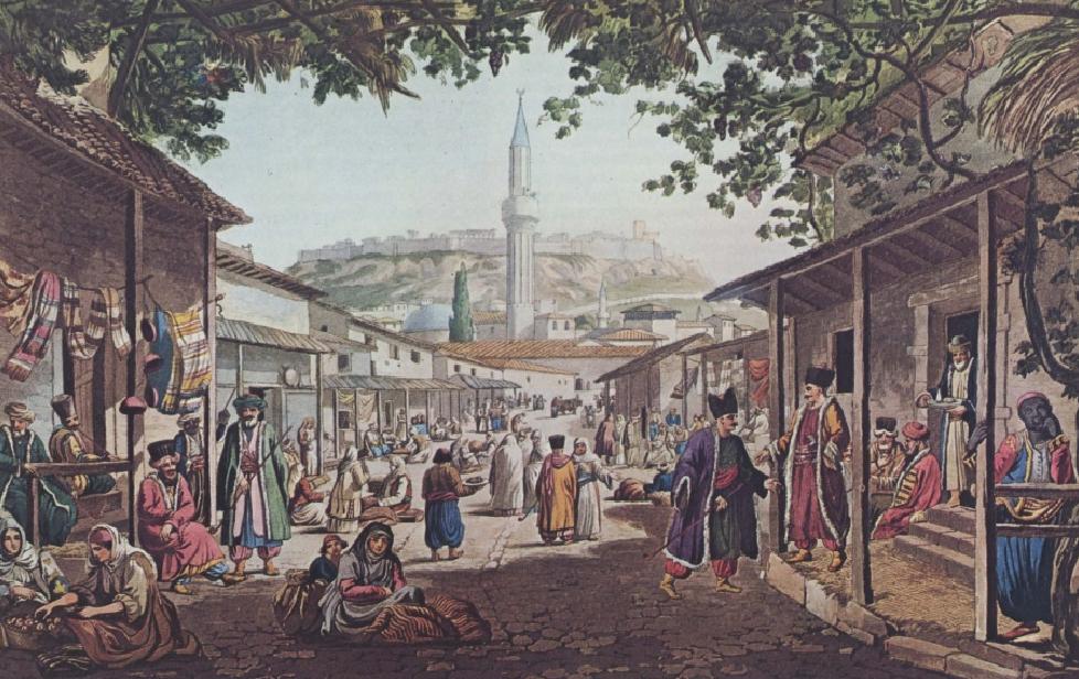 Η Αθήνα κατά την τουρκοκρατία. Αγορά κοντά στην βιβλιοθήκη του Αδριανού. Αθήνα. Γεννάδειος Βιβλιοθήκη