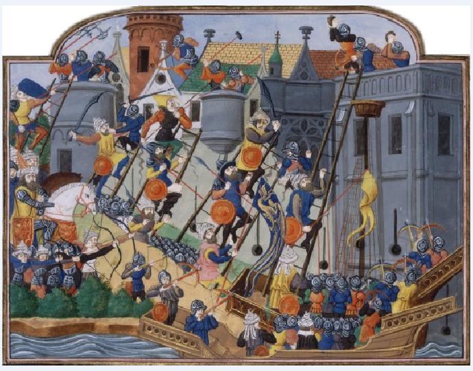 ean Chartier, Πολιορκία της Κωνσταντινούπολης, 15ος αι., Bibliothèque nationale de France. Manuscript Français 2691 folio CCXLVIv