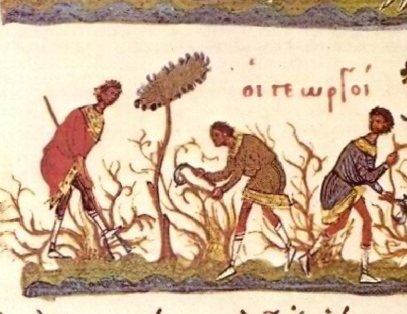Βυζαντινοί γεωργοί εισπράττουν τα ημερομίσθιά τους για την καλλιέργεια αμπελώνα.