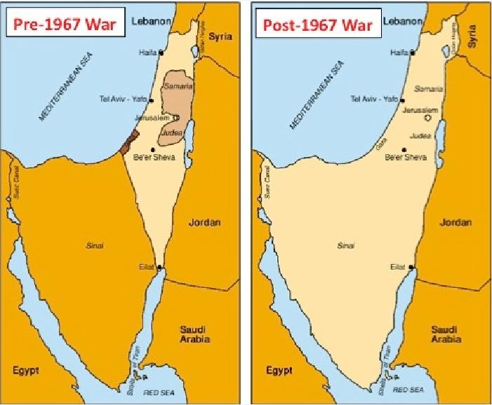 Το Ισραήλ πρίν και μετά τον πόλεμο των 'Εξι Ημερών