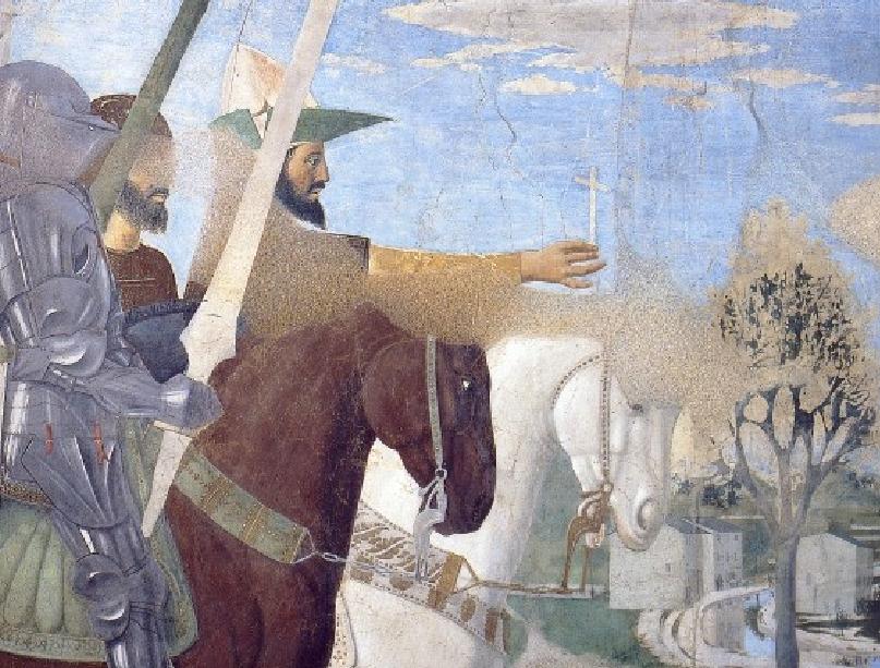 Ο Μέγας Κωνσταντίνος με τον σταυρό στο χέρι. Τοιχογραφία, La Chapelle Bacci à Arezzo