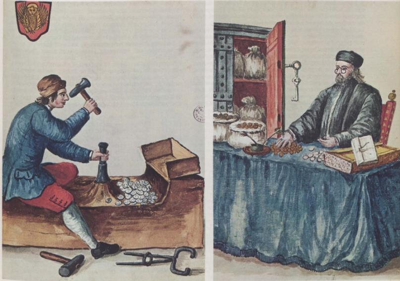 Βενετός νομισματοκόπος (αριστερά)· παράσταση σε λιθογραφία. Αθήνα. Γεννάδειος Βιβλιοθήκη. Βενετός τραπεζίτης μετράει τα νομίσματά του. Μικρογραφία του 1754. Βενετία, μουσείο Correr.