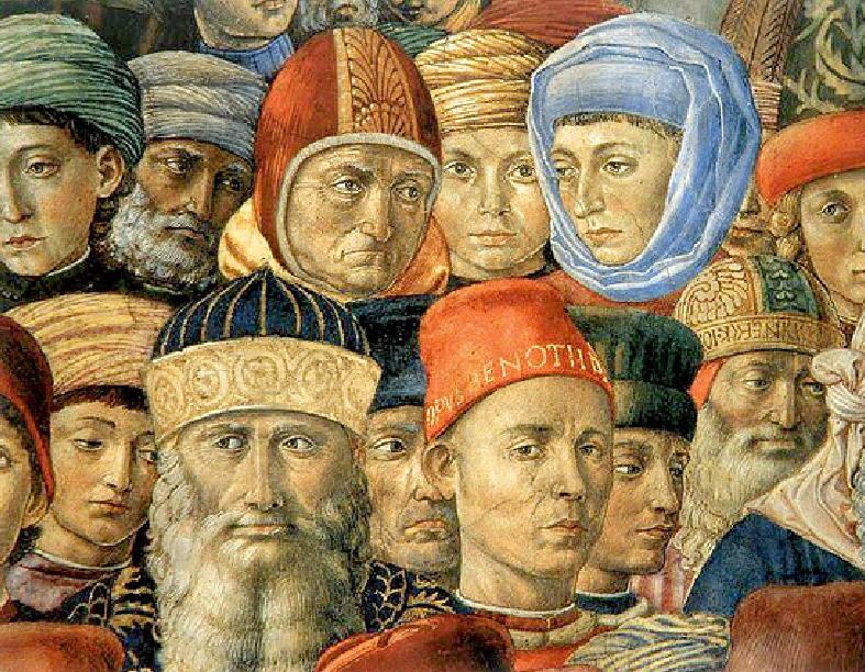 Ο Γεώργιος Γεμιστός ή Πλήθων (κάτω αριστερά με τα γένια), λεπτομέρεια από τοιχογραφία στο παλάτι των Μεδίκων, Φλωρεντία, Ιταλία.