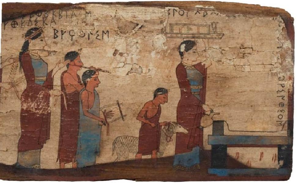 Ξύλινος πίνακας από το σπήλαιο Πιτσά Κορινθίας· παράσταση πομπής για θυσία. 540-530 π.Χ. Εθνικό Αρχαιολογικό Μουσείο, Αθήνα.