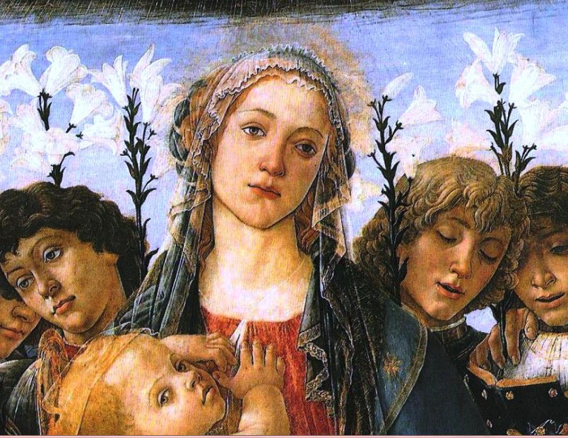 Σάντρο Μποττιτσέλλι. Η Θεοτόκος και οκτώ άγγελοι με κρίνα, περ. 1478