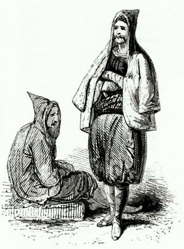 Κρητικοί άνδρες με κουκούλες. Από την έκδοση: Robert Pashley, Travels in Crete, Λονδίνο, 1837.