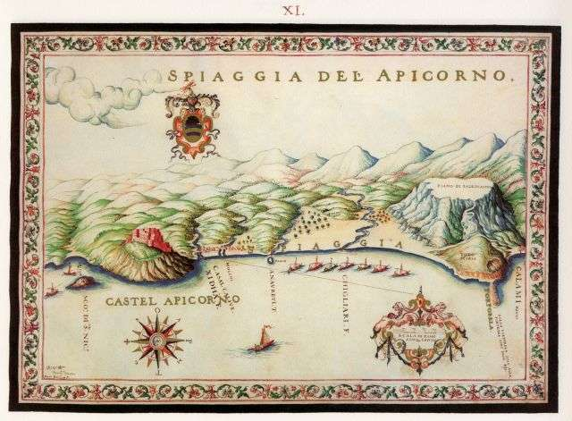 Η παραλία του Αποκόρωνα στην Κρήτη με το ομώνυμο φρούριο. ο Βασίλειον της Κρήτης - Cretae Regnum, Francesco Basilicata, 1618. (Συντελεστές: Βάσω Δανέζη-Λαμπρινού, Νικόλαος Μ. Παναγιωτάκης, Θέμης Στρογγυλός, Ποθούλα Καψαμπέλη), Ηράκλειο, Εκδόσεις «Μικρός Ναυτίλος» - Βικελαία Βιβλιοθήκη - Σύνδεσμος ΤΕΔΚ Κρήτης, 1994.
