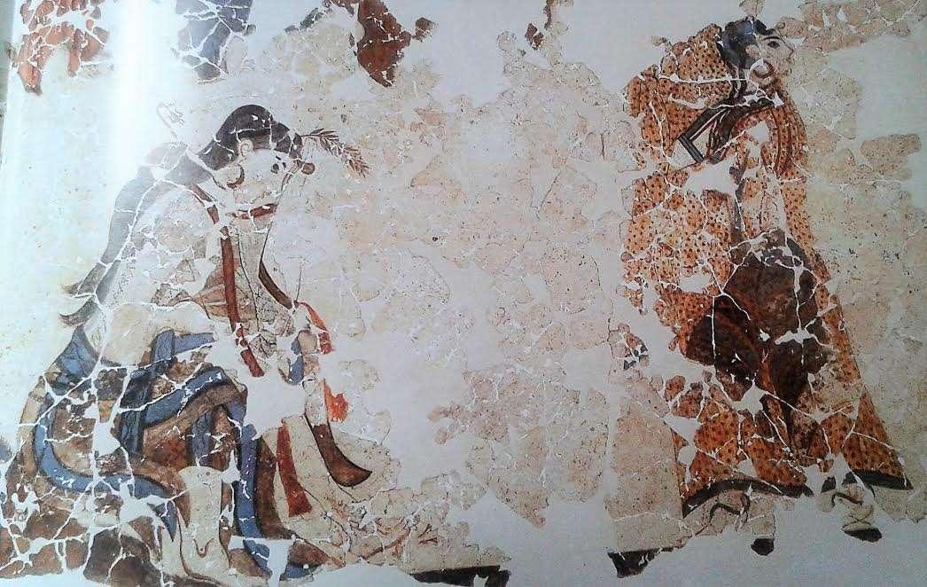 Λεπτομέρεια τοιχογραφίας λατρευτριών: Χρ. Ντούμας, Οι τοιχογραφίες της Θήρας, εικ. 100.