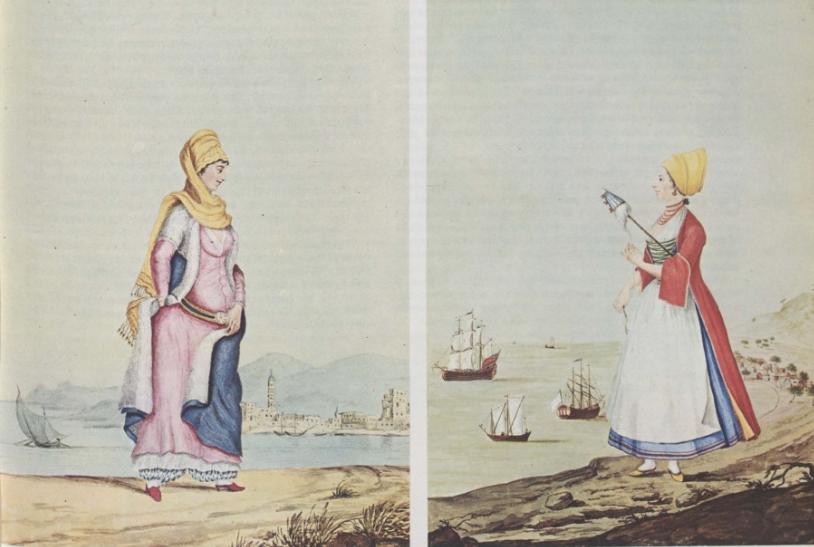Χωρική της Μυτιλήνης (αριστερά) και γυναίκα της Τήνου με τη ρόκα στο χέρι. Αθήνα. Γεννάδειος Βιβλιοθήκη